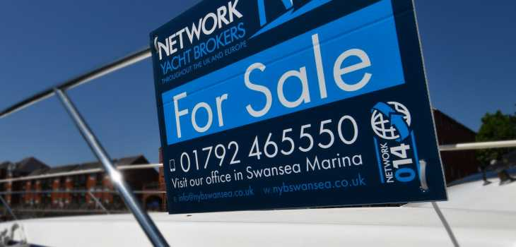 Network Yacht Brokers for sale sign swansea